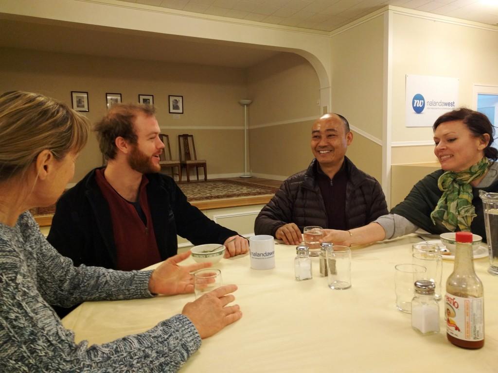 Acharya Lhakpa Tshering and several participants enjoy lunch together at Nalanda West.