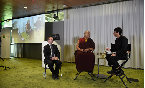 HH the 17th Gyalwang Karmapa and Chade Meng address Google staff. Nalandabodhi's Mitra Tyler Dewar served as translator for His Holiness.